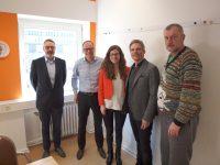 v.l.n.r.: Jörg Röskam (Pestalozzi-Stiftung Hamburg, Vorstand), Michael Rund (bbs, Gesellschafter), Natalia Willner (bbs, Marketing), Kai Gosslar (hwg hamburg work, Geschäftsführer), Christian Violka (Pestalozzi-Stiftung Hamburg, Vorstand)